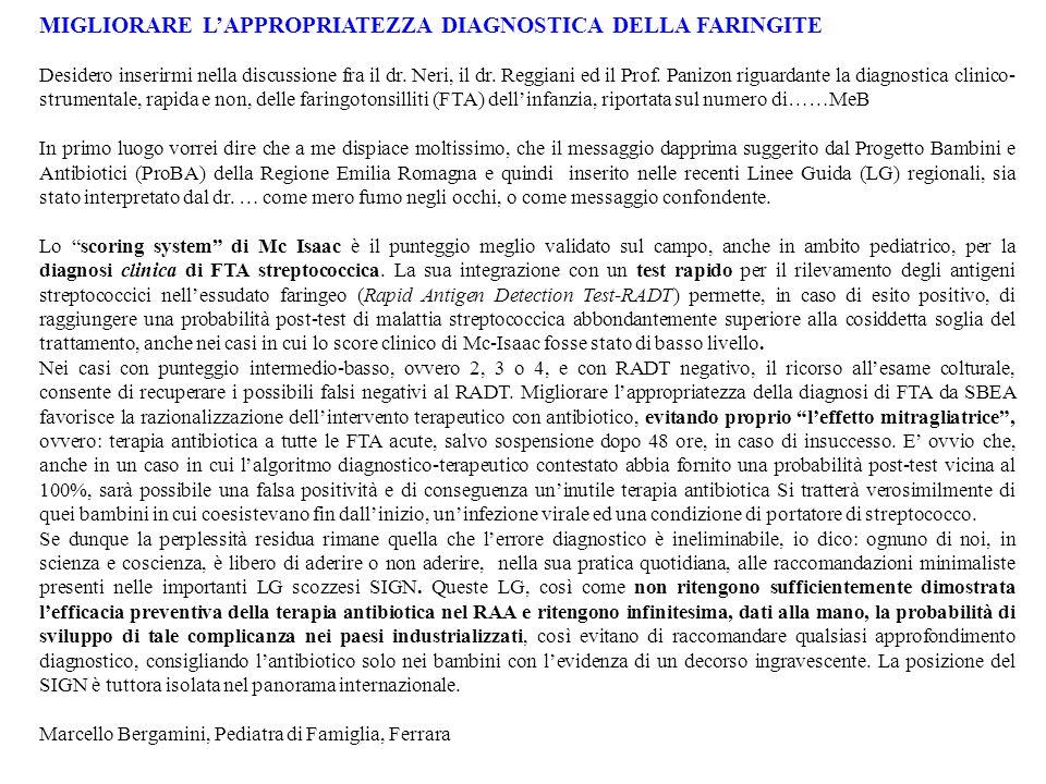 MIGLIORARE LAPPROPRIATEZZA DIAGNOSTICA DELLA FARINGITE Desidero inserirmi nella discussione fra il dr. Neri, il dr. Reggiani ed il Prof. Panizon rigua