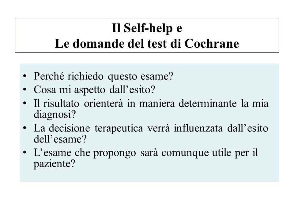 Il Self-help e Le domande del test di Cochrane Perché richiedo questo esame? Cosa mi aspetto dallesito? Il risultato orienterà in maniera determinante