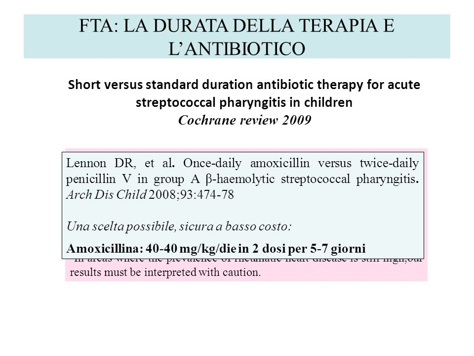 FTA: LA DURATA DELLA TERAPIA E LANTIBIOTICO Authors conclusions Three to six days of oral antibiotics had comparable efficacy compared to the standard