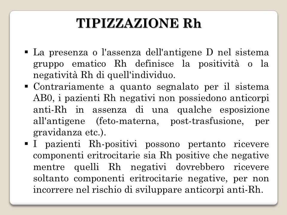 La presenza o l'assenza dell'antigene D nel sistema gruppo ematico Rh definisce la positività o la negatività Rh di quell'individuo. Contrariamente a