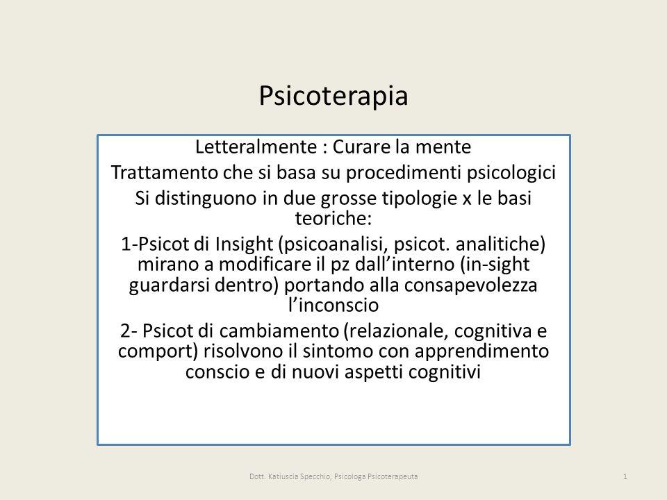 Letteralmente : Curare la mente Trattamento che si basa su procedimenti psicologici Si distinguono in due grosse tipologie x le basi teoriche: 1-Psicot di Insight (psicoanalisi, psicot.