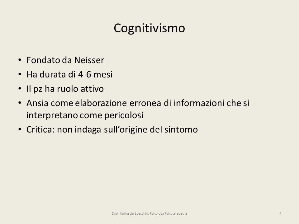 Cognitivismo Fondato da Neisser Ha durata di 4-6 mesi Il pz ha ruolo attivo Ansia come elaborazione erronea di informazioni che si interpretano come pericolosi Critica: non indaga sullorigine del sintomo 4Dott.