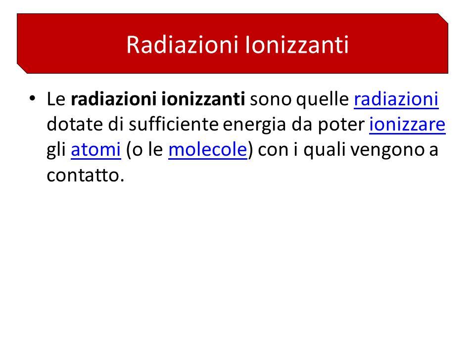 Le radiazioni ionizzanti sono quelle radiazioni dotate di sufficiente energia da poter ionizzare gli atomi (o le molecole) con i quali vengono a contatto.radiazioniionizzareatomimolecole Radiazioni Ionizzanti