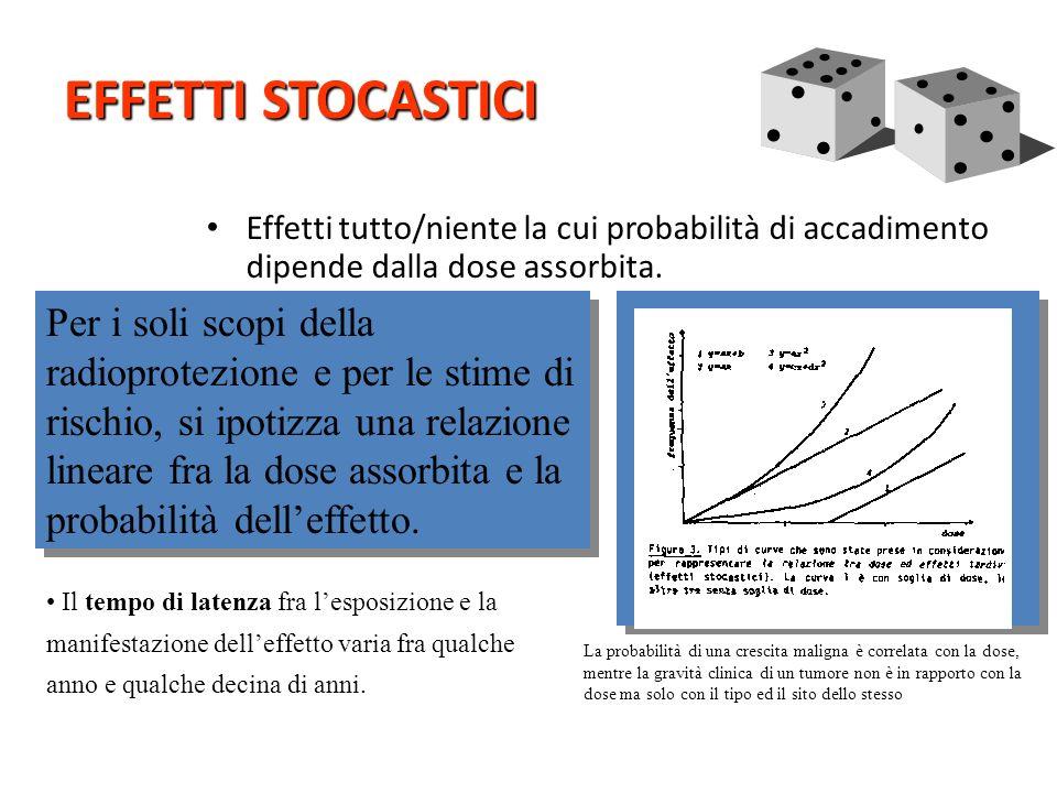 Tipi di effetti Dose elevata Elevato rateo di dose Effetti deterministici Acuti Tardivi Bassa dose Basso rateo di dose Effetti stocastici - cancro - e
