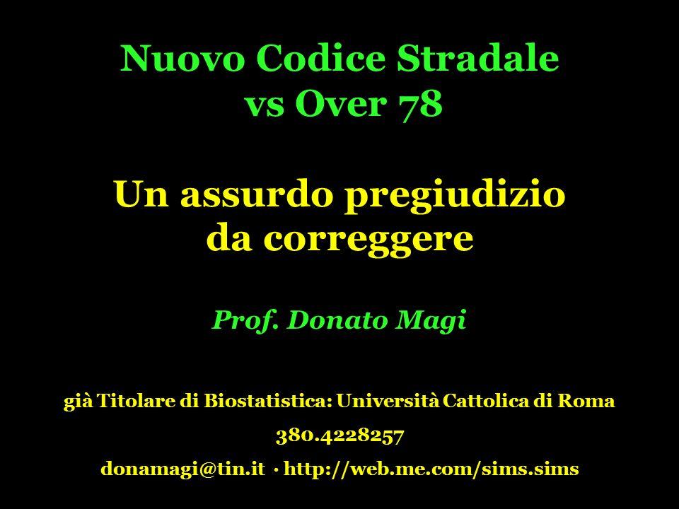 Nuovo Codice Stradale vs Over 78 Un assurdo pregiudizio da correggere Prof.