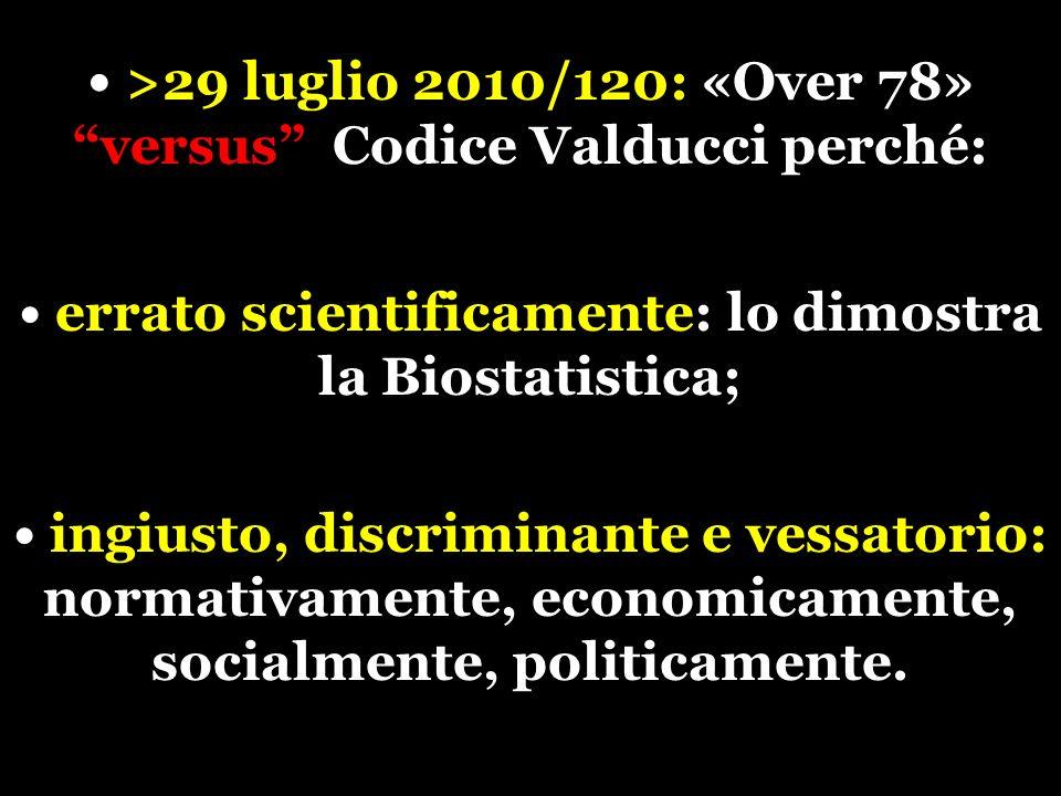 >29 luglio 2010/120: «Over 78» versus Codice Valducci perché: errato scientificamente: lo dimostra la Biostatistica; ingiusto, discriminante e vessatorio: normativamente, economicamente, socialmente, politicamente.