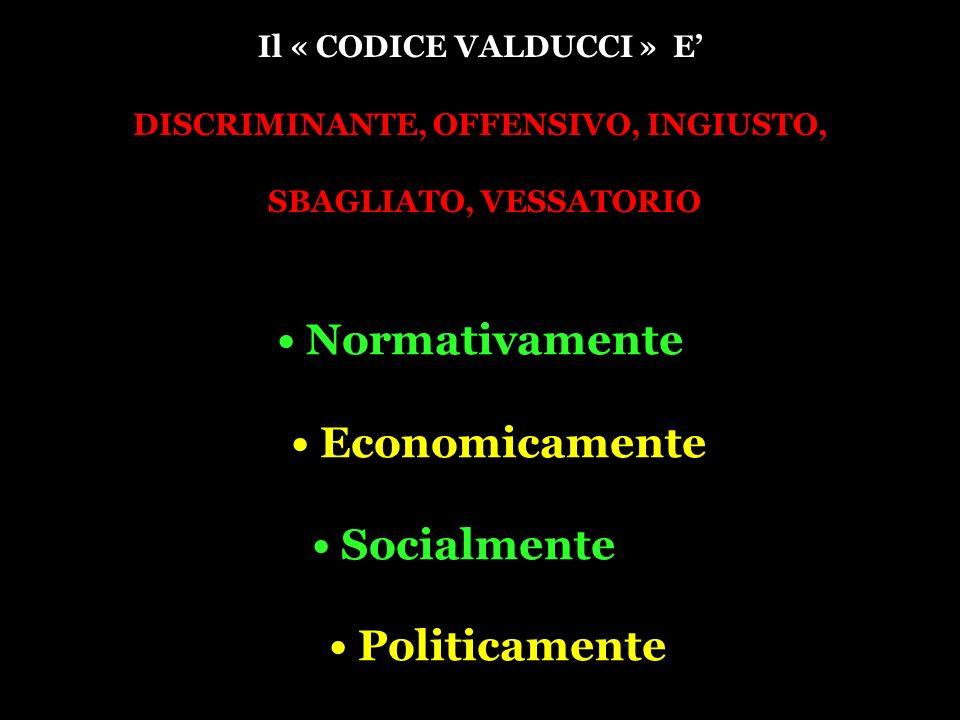 Il « CODICE VALDUCCI » E DISCRIMINANTE, OFFENSIVO, INGIUSTO, SBAGLIATO, VESSATORIO Normativamente Economicamente Socialmente Politicamente