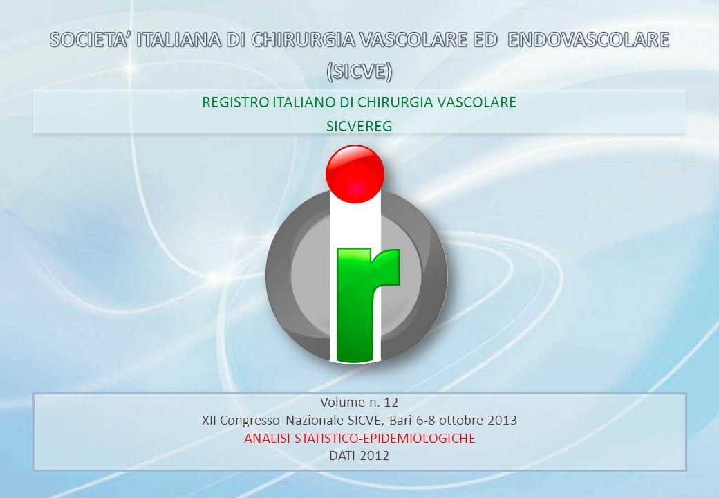 REGISTRO ITALIANO DI CHIRURGIA VASCOLARE SICVEREG REGISTRO ITALIANO DI CHIRURGIA VASCOLARE SICVEREG Volume n. 12 XII Congresso Nazionale SICVE, Bari 6