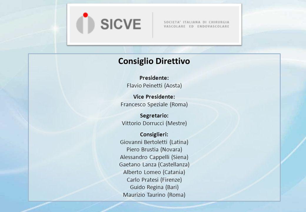 Consiglio Direttivo Presidente: Flavio Peinetti (Aosta) Vice Presidente: Francesco Speziale (Roma) Segretario: Vittorio Dorrucci (Mestre) Consiglieri: