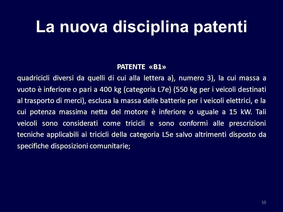 La nuova disciplina patenti PATENTE «B1» quadricicli diversi da quelli di cui alla lettera a), numero 3), la cui massa a vuoto è inferiore o pari a 40