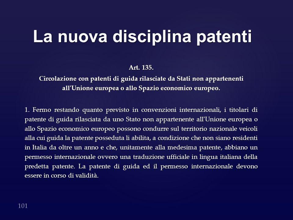 La nuova disciplina patenti Art. 135. Circolazione con patenti di guida rilasciate da Stati non appartenenti all'Unione europea o allo Spazio economic