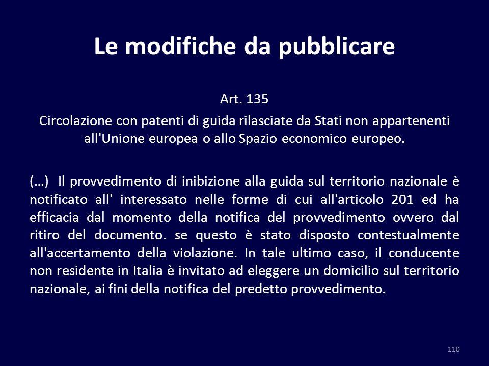 Le modifiche da pubblicare Art. 135 Circolazione con patenti di guida rilasciate da Stati non appartenenti all'Unione europea o allo Spazio economico