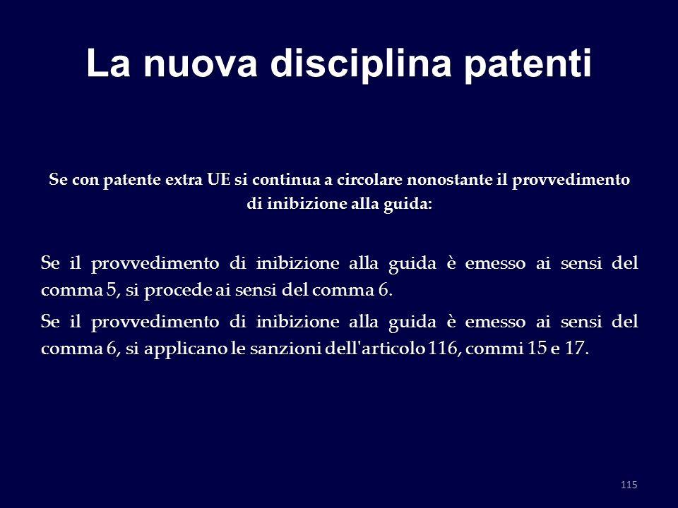 La nuova disciplina patenti Se con patente extra UE si continua a circolare nonostante il provvedimento di inibizione alla guida: Se il provvedimento