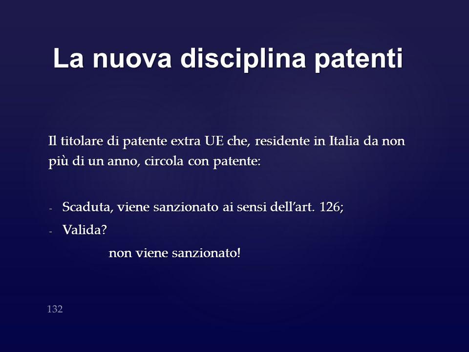 La nuova disciplina patenti Il titolare di patente extra UE che, residente in Italia da non più di un anno, circola con patente: - Scaduta, viene sanz