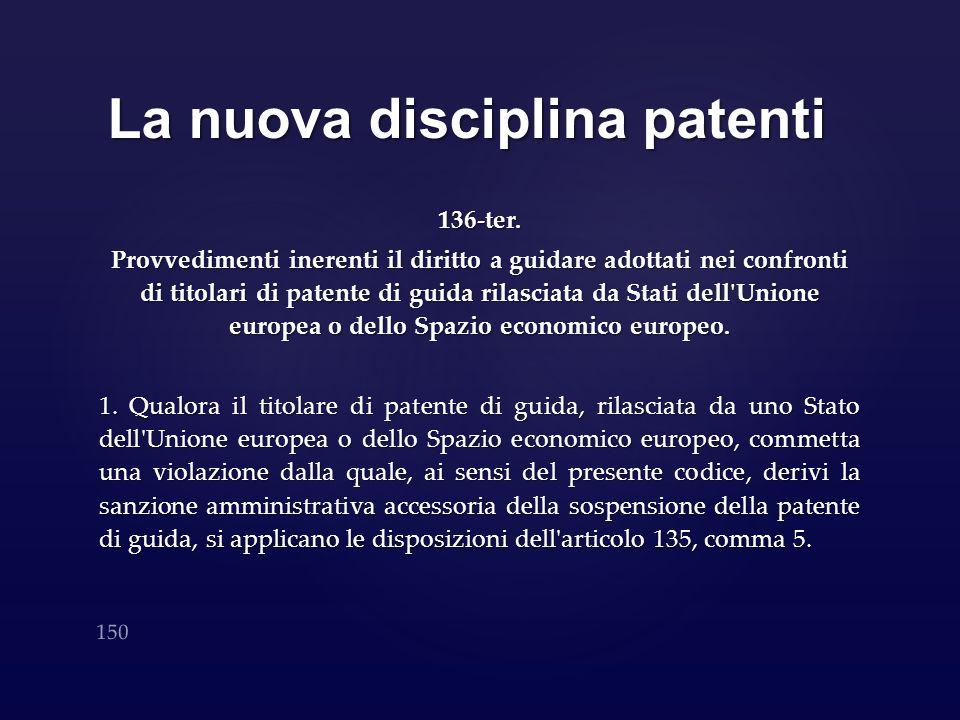 La nuova disciplina patenti 136-ter. Provvedimenti inerenti il diritto a guidare adottati nei confronti di titolari di patente di guida rilasciata da