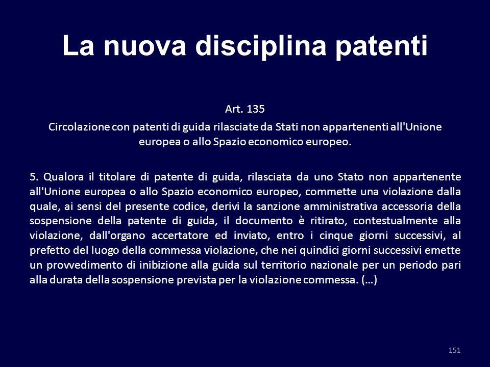 La nuova disciplina patenti Art. 135 Circolazione con patenti di guida rilasciate da Stati non appartenenti all'Unione europea o allo Spazio economico