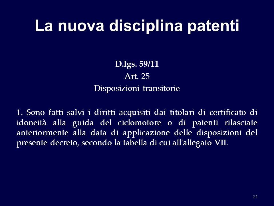 La nuova disciplina patenti D.lgs. 59/11 Art. 25 Disposizioni transitorie 1. Sono fatti salvi i diritti acquisiti dai titolari di certificato di idone