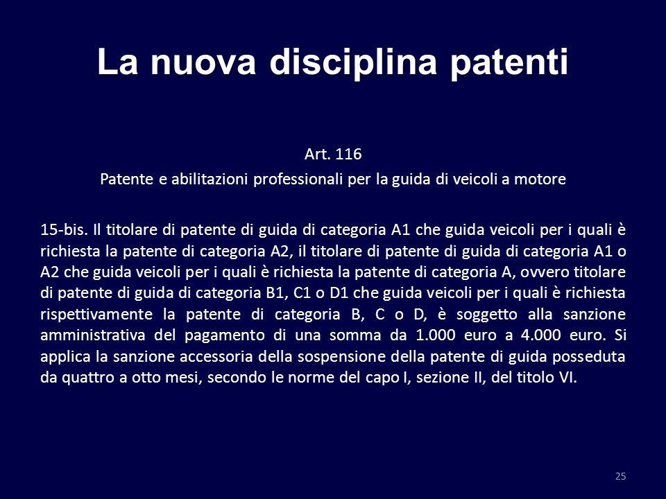 La nuova disciplina patenti Art. 116 Patente e abilitazioni professionali per la guida di veicoli a motore 15-bis. Il titolare di patente di guida di