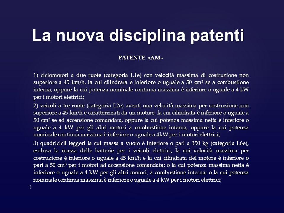 La nuova disciplina patenti PATENTE «AM» 1) ciclomotori a due ruote (categoria L1e) con velocità massima di costruzione non superiore a 45 km/h, la cu