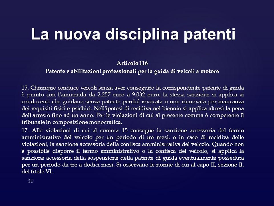 La nuova disciplina patenti Articolo 116 Patente e abilitazioni professionali per la guida di veicoli a motore 15. Chiunque conduce veicoli senza aver