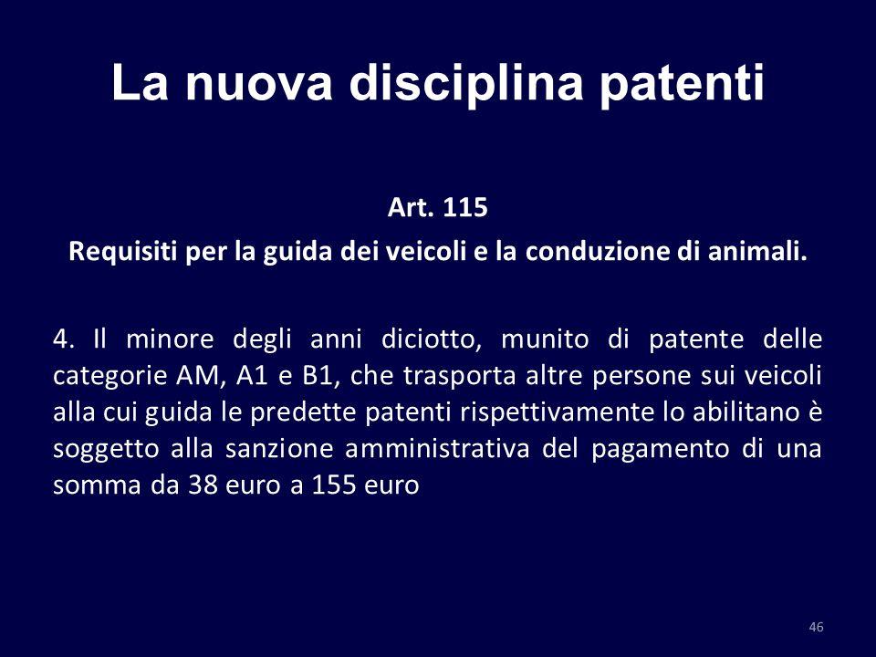 La nuova disciplina patenti Art. 115 Requisiti per la guida dei veicoli e la conduzione di animali. 4. Il minore degli anni diciotto, munito di patent