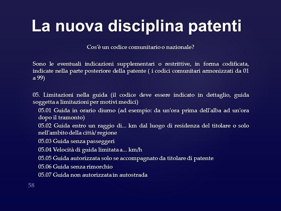 La nuova disciplina patenti Cosè un codice comunitario o nazionale? Sono le eventuali indicazioni supplementari o restrittive, in forma codificata, in