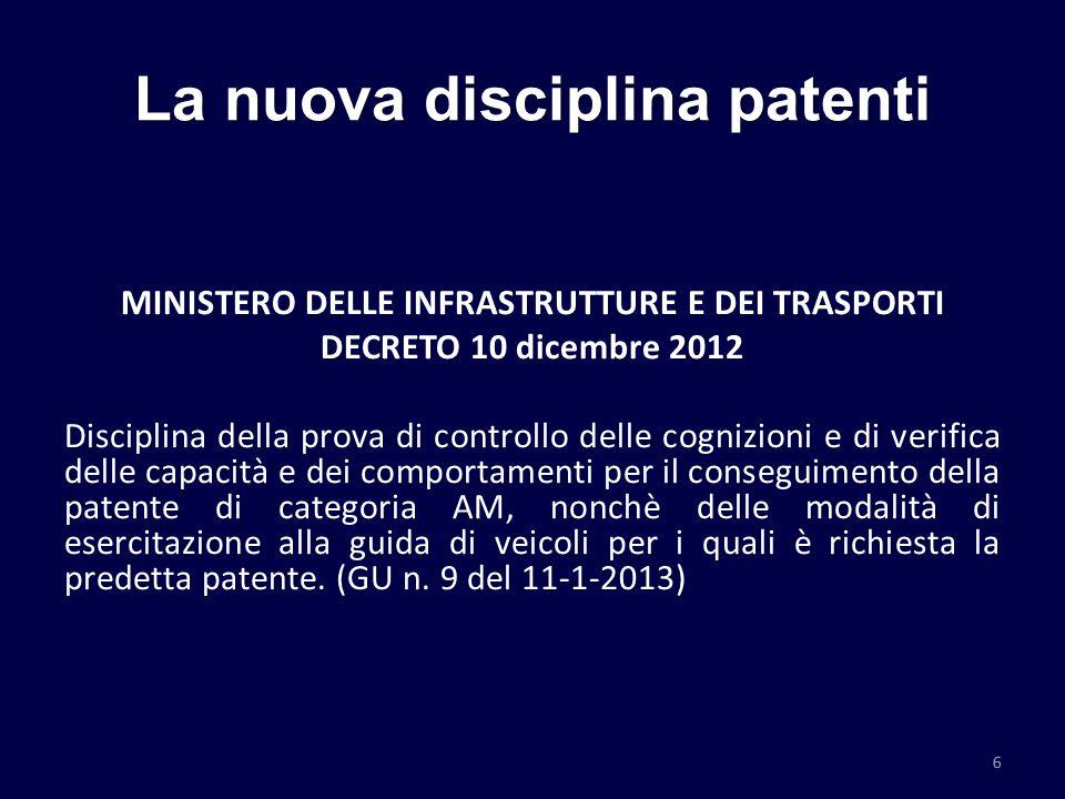 La nuova disciplina patenti MINISTERO DELLE INFRASTRUTTURE E DEI TRASPORTI DECRETO 10 dicembre 2012 Disciplina della prova di controllo delle cognizio
