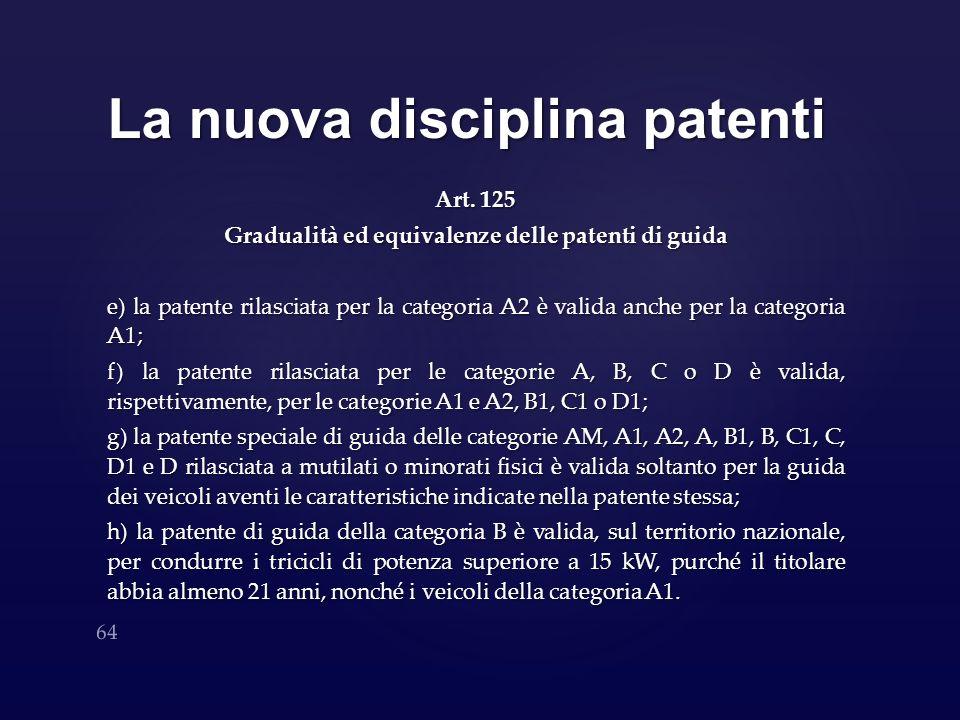 La nuova disciplina patenti Art. 125 Gradualità ed equivalenze delle patenti di guida e) la patente rilasciata per la categoria A2 è valida anche per
