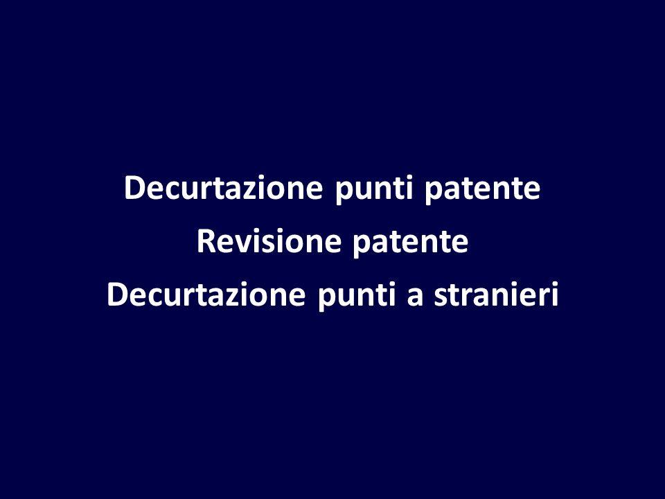 Decurtazione punti patente Revisione patente Decurtazione punti a stranieri