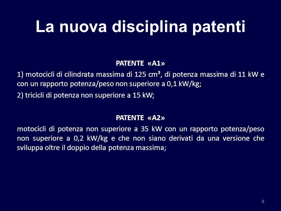 La nuova disciplina patenti PATENTE «A1» 1) motocicli di cilindrata massima di 125 cm³, di potenza massima di 11 kW e con un rapporto potenza/peso non