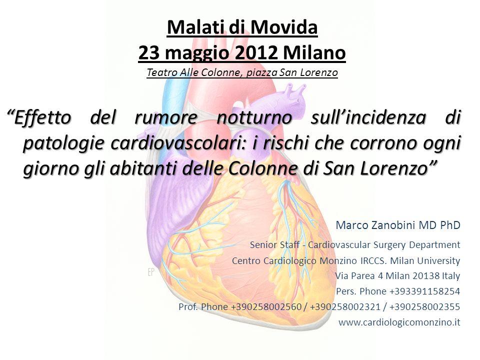 Malati di Movida 23 maggio 2012 Milano Teatro Alle Colonne, piazza San Lorenzo Effetto del rumore notturno sullincidenza di patologie cardiovascolari: