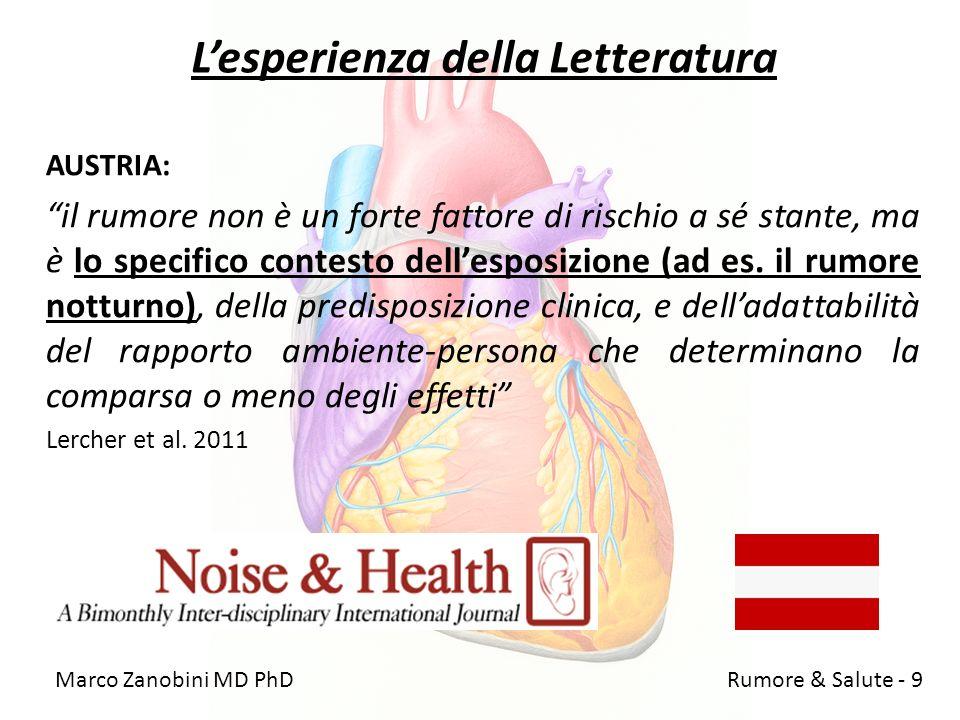 Lesperienza della Letteratura AUSTRIA: il rumore non è un forte fattore di rischio a sé stante, ma è lo specifico contesto dellesposizione (ad es. il