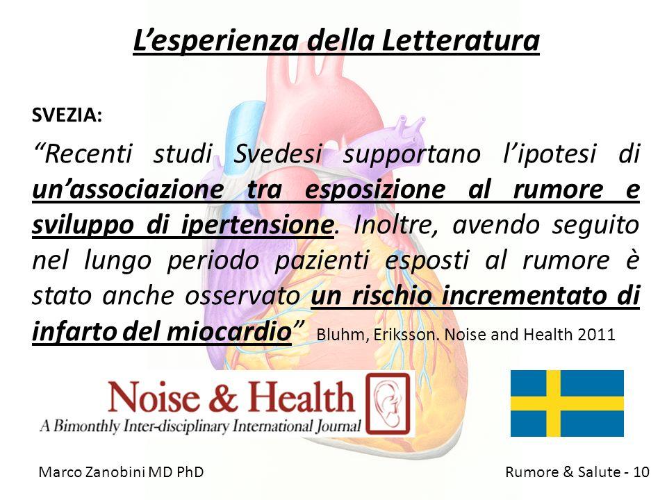 Lesperienza della Letteratura SVEZIA: Recenti studi Svedesi supportano lipotesi di unassociazione tra esposizione al rumore e sviluppo di ipertensione