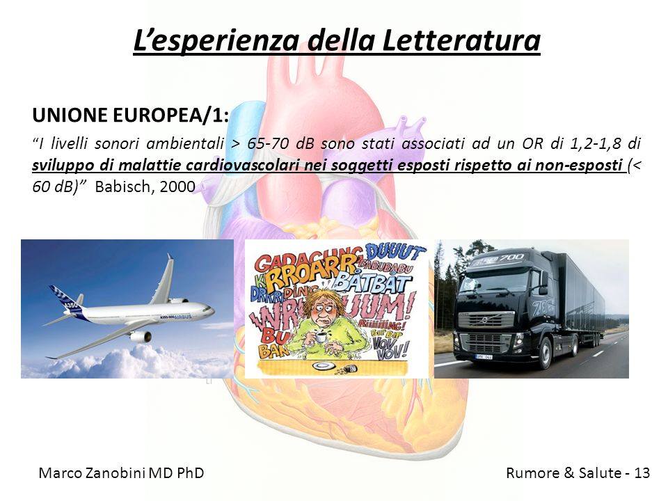 Lesperienza della Letteratura UNIONE EUROPEA/1: I livelli sonori ambientali > 65-70 dB sono stati associati ad un OR di 1,2-1,8 di sviluppo di malatti