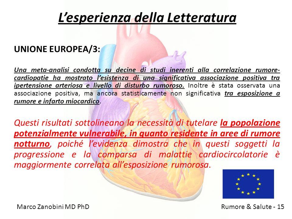 Lesperienza della Letteratura UNIONE EUROPEA/3: Una meta-analisi condotta su decine di studi inerenti alla correlazione rumore- cardiopatie ha mostrat