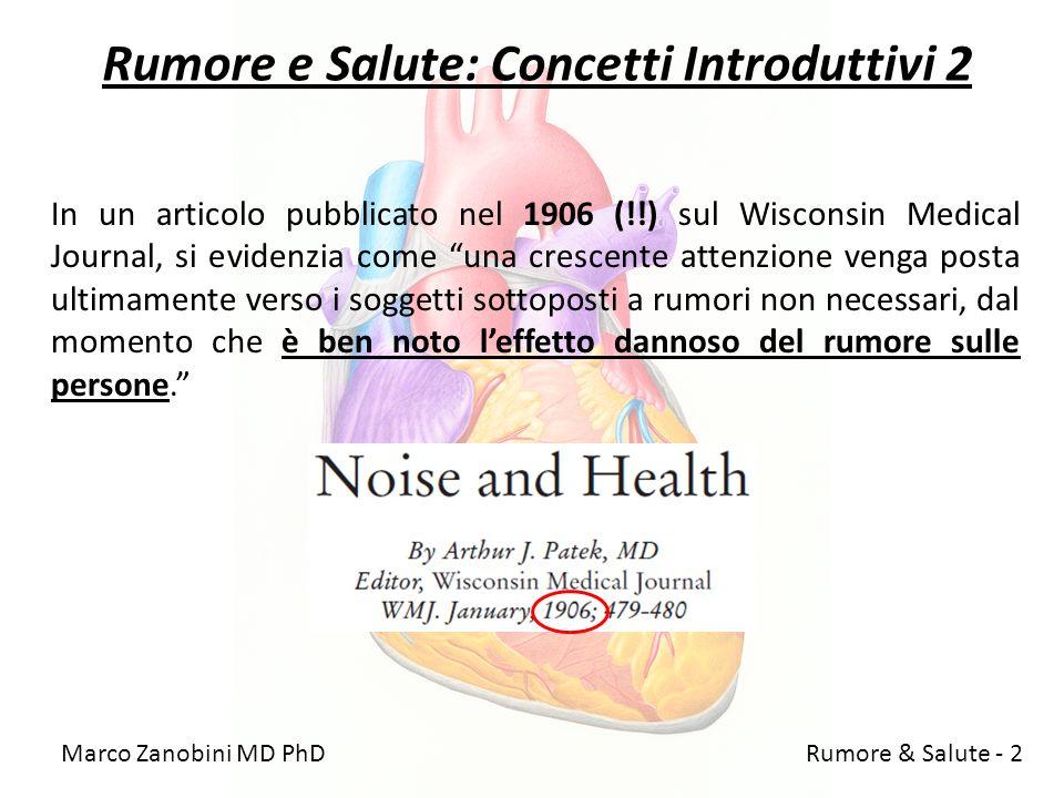 Rumore e Salute: Concetti Introduttivi 2 In un articolo pubblicato nel 1906 (!!) sul Wisconsin Medical Journal, si evidenzia come una crescente attenz