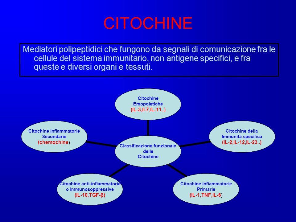 CITOCHINE Mediatori polipeptidici che fungono da segnali di comunicazione fra le cellule del sistema immunitario, non antigene specifici, e fra queste