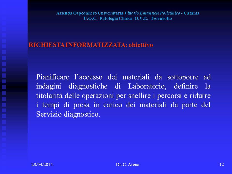 Azienda Ospedaliero Universitaria Vittorio Emanuele Policlinico - Catania U.O.C. Patologia Clinica O.V.E. - Ferrarotto 23/04/2014Dr. C. Arena12 RICHIE