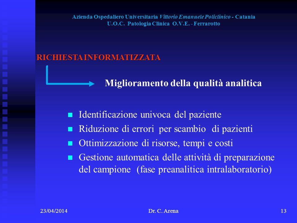 Azienda Ospedaliero Universitaria Vittorio Emanuele Policlinico - Catania U.O.C. Patologia Clinica O.V.E. - Ferrarotto 23/04/2014Dr. C. Arena13 RICHIE