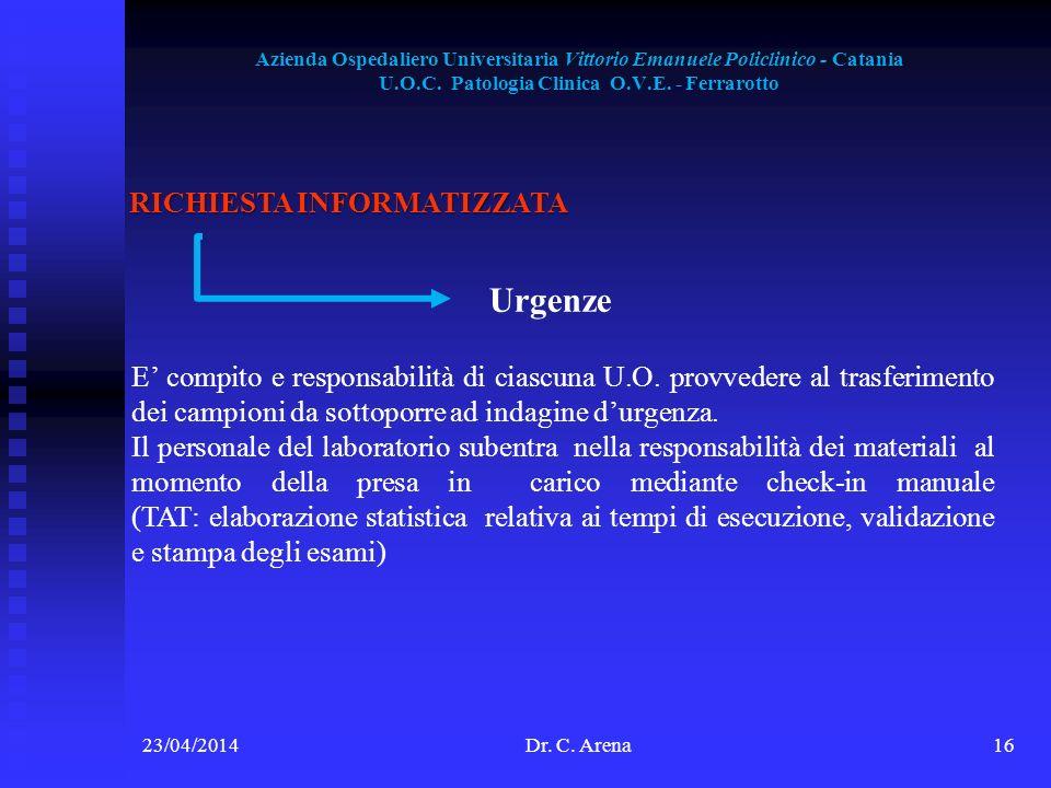 Azienda Ospedaliero Universitaria Vittorio Emanuele Policlinico - Catania U.O.C. Patologia Clinica O.V.E. - Ferrarotto 23/04/2014Dr. C. Arena16 RICHIE