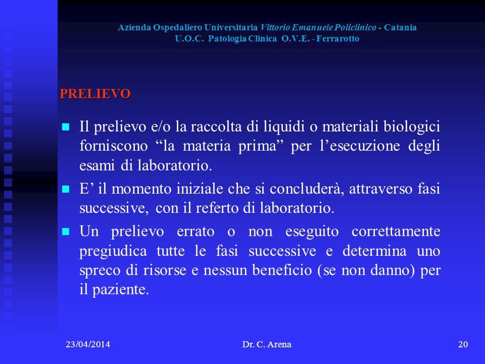 Azienda Ospedaliero Universitaria Vittorio Emanuele Policlinico - Catania U.O.C. Patologia Clinica O.V.E. - Ferrarotto 23/04/2014Dr. C. Arena20 PRELIE