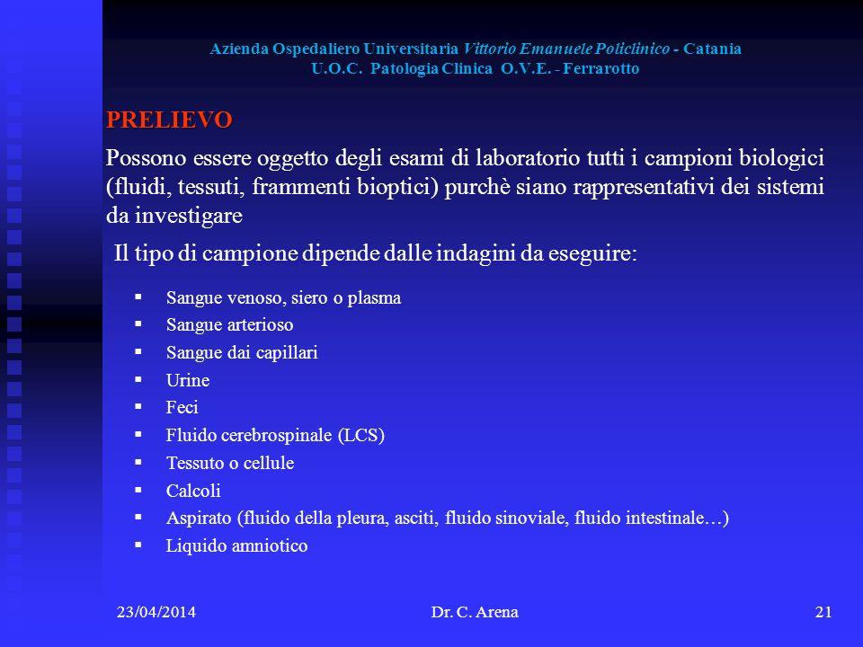 Azienda Ospedaliero Universitaria Vittorio Emanuele Policlinico - Catania U.O.C. Patologia Clinica O.V.E. - Ferrarotto 23/04/2014Dr. C. Arena21 PRELIE