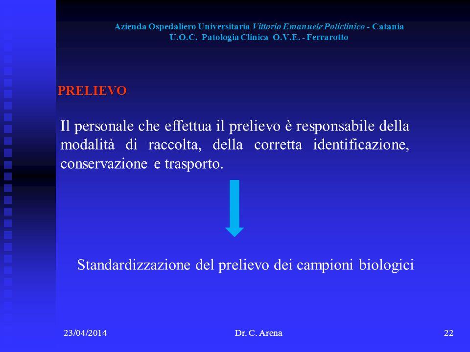 Azienda Ospedaliero Universitaria Vittorio Emanuele Policlinico - Catania U.O.C. Patologia Clinica O.V.E. - Ferrarotto 23/04/2014Dr. C. Arena22 PRELIE