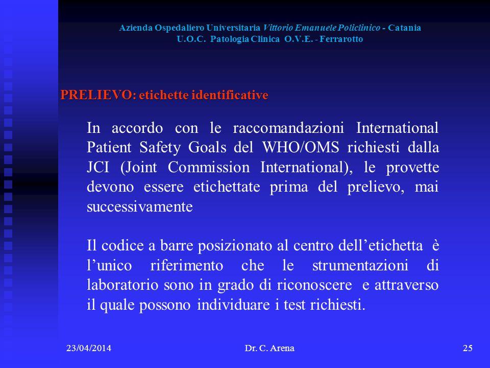Azienda Ospedaliero Universitaria Vittorio Emanuele Policlinico - Catania U.O.C. Patologia Clinica O.V.E. - Ferrarotto 23/04/2014Dr. C. Arena25 PRELIE