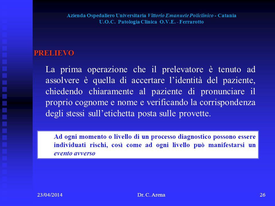 Azienda Ospedaliero Universitaria Vittorio Emanuele Policlinico - Catania U.O.C. Patologia Clinica O.V.E. - Ferrarotto 23/04/2014Dr. C. Arena26 PRELIE