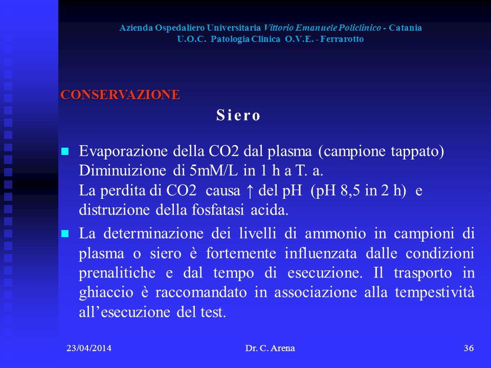 Azienda Ospedaliero Universitaria Vittorio Emanuele Policlinico - Catania U.O.C. Patologia Clinica O.V.E. - Ferrarotto 23/04/2014Dr. C. Arena36 CONSER