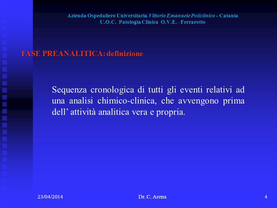 Azienda Ospedaliero Universitaria Vittorio Emanuele Policlinico - Catania U.O.C. Patologia Clinica O.V.E. - Ferrarotto 23/04/2014Dr. C. Arena4 FASE PR