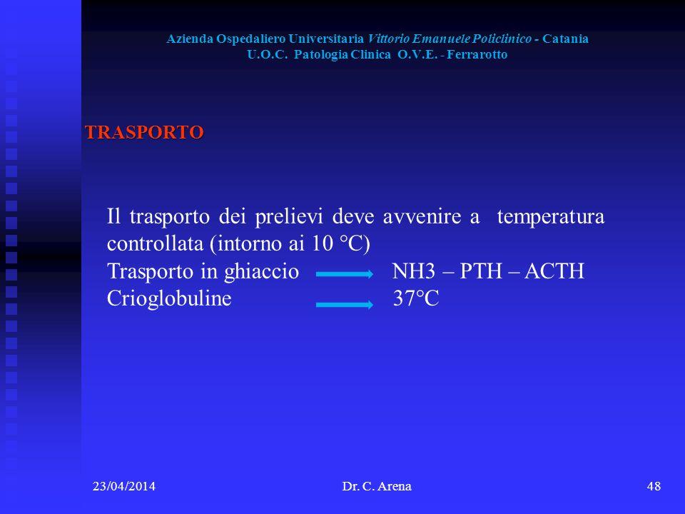 Azienda Ospedaliero Universitaria Vittorio Emanuele Policlinico - Catania U.O.C. Patologia Clinica O.V.E. - Ferrarotto 23/04/2014Dr. C. Arena48 TRASPO