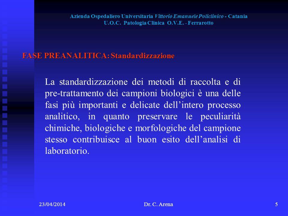 Azienda Ospedaliero Universitaria Vittorio Emanuele Policlinico - Catania U.O.C. Patologia Clinica O.V.E. - Ferrarotto 23/04/2014Dr. C. Arena5 FASE PR