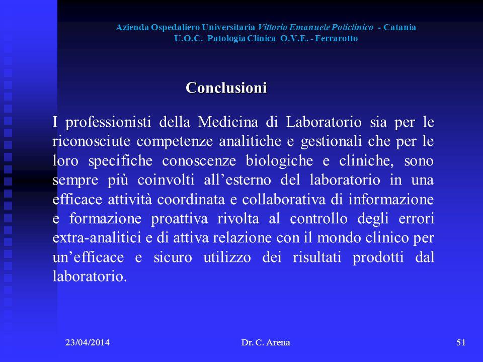 Azienda Ospedaliero Universitaria Vittorio Emanuele Policlinico - Catania U.O.C. Patologia Clinica O.V.E. - Ferrarotto 23/04/2014Dr. C. Arena51 Conclu